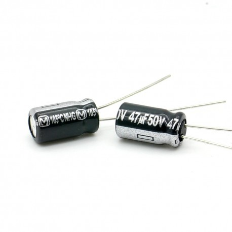 2x Condensateur electrolitique Panasonic NHG 47uF 50V 6x11mm
