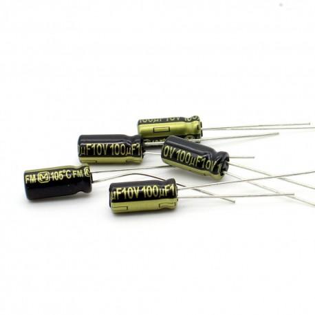 5x Condensateur electrolitique Panasonic FM 100uF 10V 5x11mm