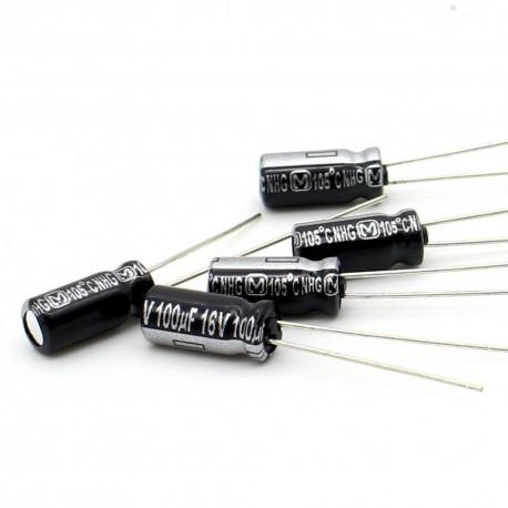 5x Condensateur electrolitique Panasonic NHG 100uF 16V 5x11mm