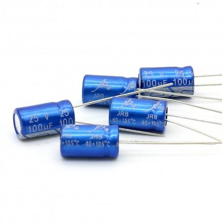 5x Condensateur electrolitique JB capacitors 100uF 25V 6x11mm
