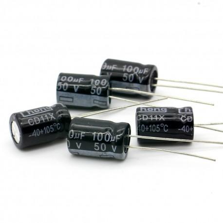 5x Condensateur electrolitique radial 100uF 50V 8x11mm