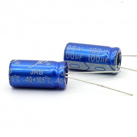 2x Condensateur electrolitique Jb capacitors 100uF 100V 10x20mm