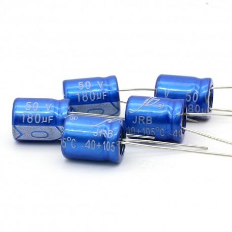 5x Condensateur electrolitique JB capacitors 180uF 50V 10x12mm