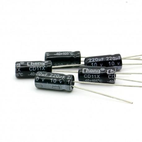 5x Condensateur electrolitique radial 220uF 10V 5x11mm