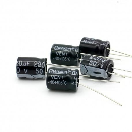 5x Condensateur electrolitique radial 220uF 50V 10x13mm