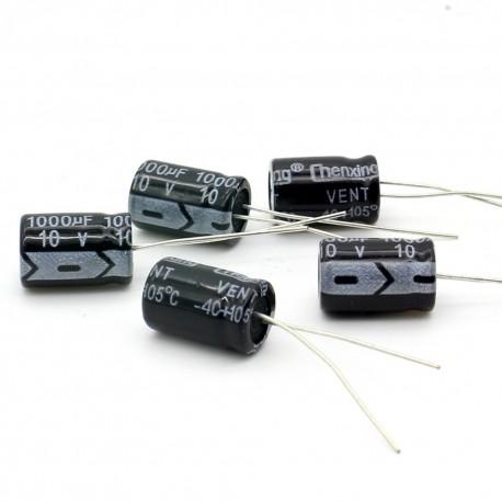 5x Condensateur electrolitique radial 1000uF 10V 8x12mm
