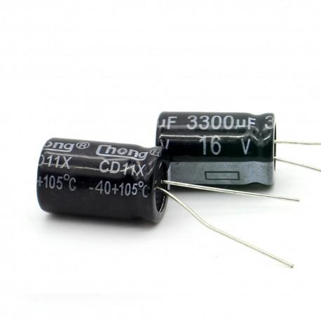 2c Condensateur electrolitique radial 3300uF 16V 13x21mm
