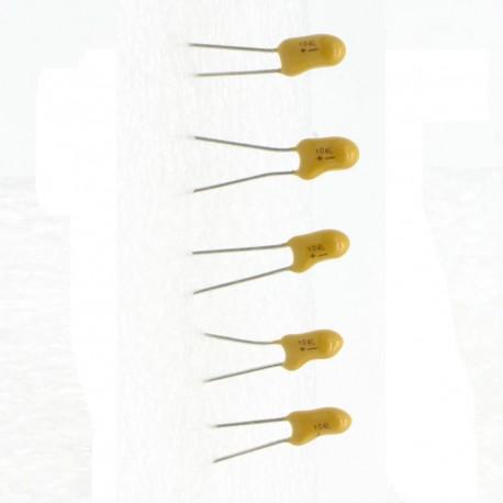 5x Condensateur Tantale AVX 0.1uF - 35v - 85con412