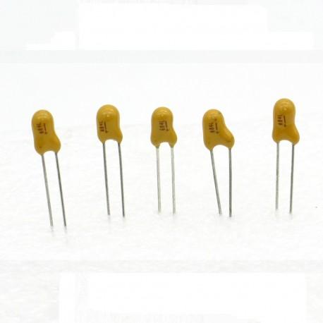 5x Condensateur Tantale AVX 0.68uF - 50v - 684 - radial