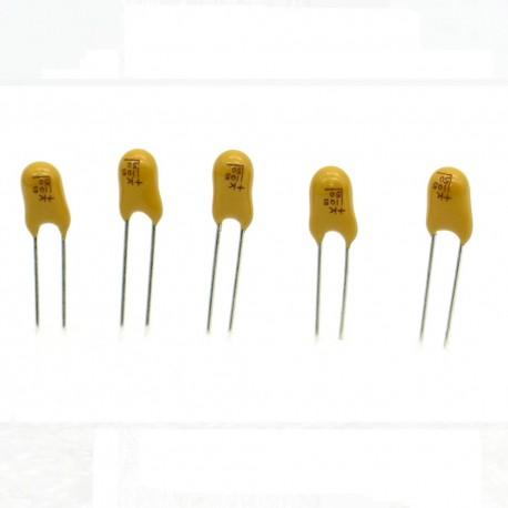 5x Condensateur Tantale AVX 1uF - 50v - 105 - radial - 85con419