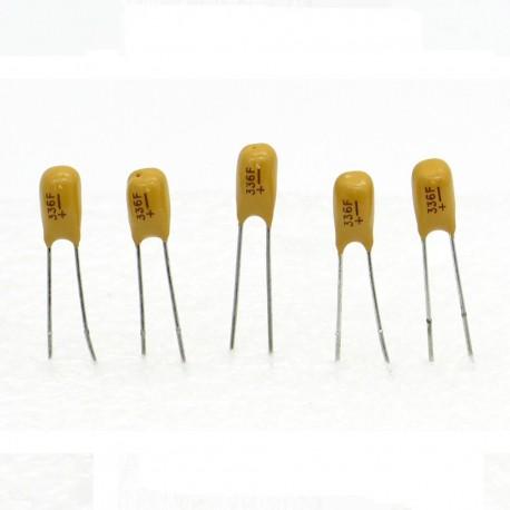 5x Condensateur Tantale AVX 33uF - 16v - 336 - radial