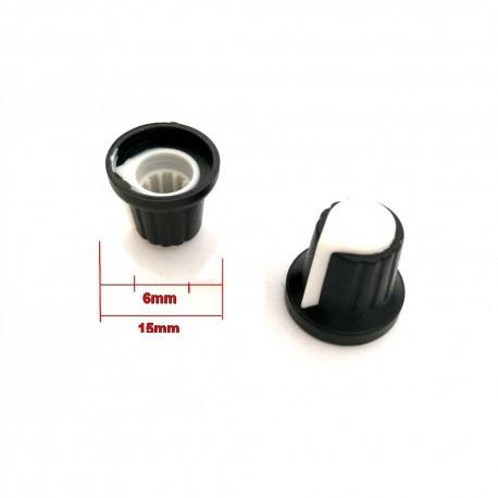 2x Bouchon potentiomètre 6mm plastique Blanc