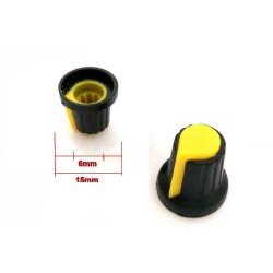 2x Bouchon potentiomètre 6mm plastique jaune - 78pot017