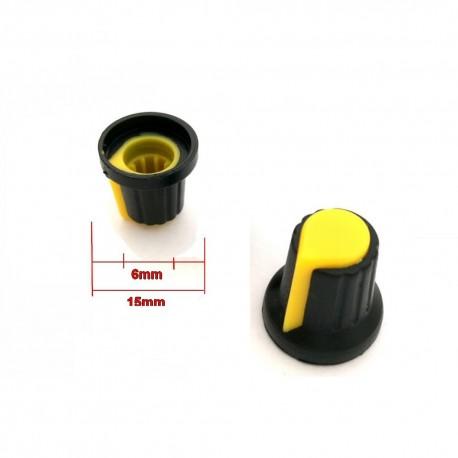 2x Bouchon potentiomètre 6mm plastique jaune