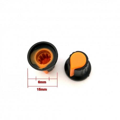 2x Bouchon potentiomètre 6mm plastique orange
