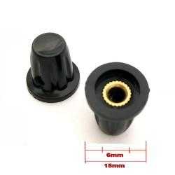 2x Bouchon potentiomètre 4 à 6mm Bakèlite noir avec vis serrage - 78pot021