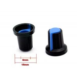 2x Bouchon potentiomètre 6mm plastique bleu