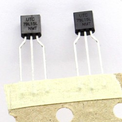2x 79L15 - 79L15L UTC - Regulateur Tension -15V 0.1A - TO-92 - 207IC001