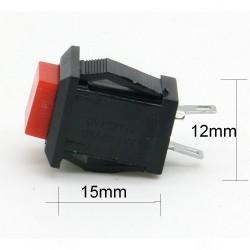 Commutateur carré Rouge - bouton poussoir - 2A - 250V - 28int016
