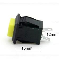 Commutateur carré Jaune - bouton poussoir - 2A - 250V - 28int017