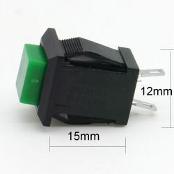 Commutateur carré Vert - bouton poussoir - 2A - 250V - 28int018