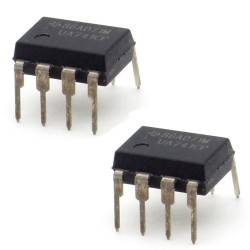 2x Circuit UA741CP Single Op-Amp DIP-8 - Texas Instrument - 215ic117