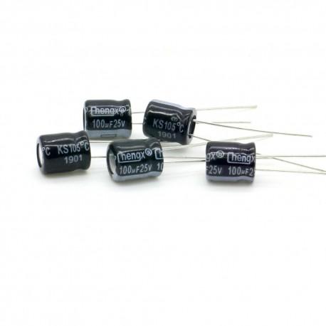 5x Condensateur chimique 100uF 25V 6.3x7mm 218con450