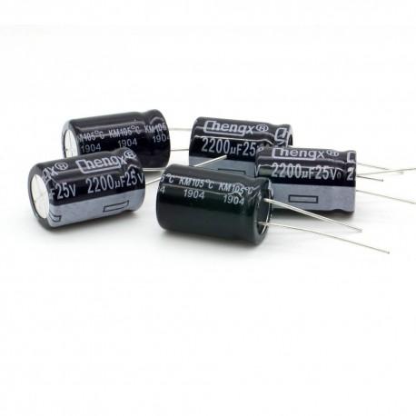 5x Condensateur électrolytique chimique 2200uF 25V 13x22mm