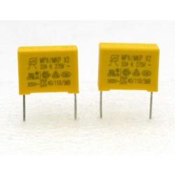 2x Condensateurs MPX MPK X2 334K 330nF P:15mm 275V - 224con480