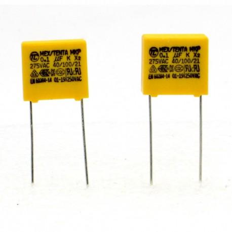 2x Condensateurs MKP MEX- X2 100nf 0.1uF P:10mm 275V - Tenta