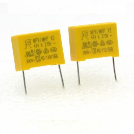 2x Condensateurs MPX MPK X2 474K 470nf P:15mm 275V