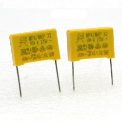 2x Condensateurs MPX MPK X2 104K 100nf P:15mm 275V - SRD - 226con489