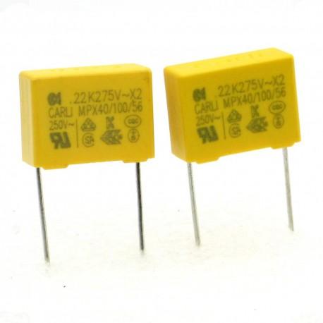 2x Condensateurs MPX-X2 220nf P:15mm 275V - Carli