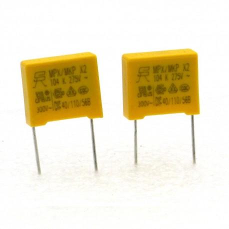 2x Condensateurs MPX MPK X2 104K 100nf P:10mm 275V