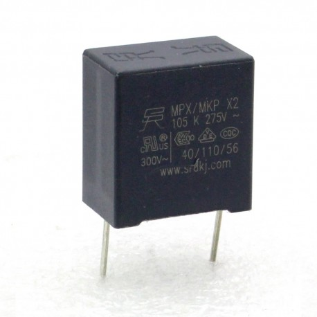 Condensateurs MPX MPK X2 105K 1uf P:15mm 275V