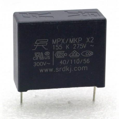 Condensateur MPX MPK X2 155K 1.5uf P:27.5mm 275V