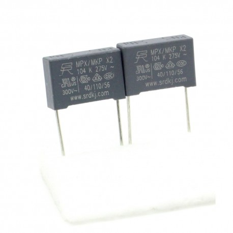 2x Condensateurs MPX MPK X2 104K 100nf P:15mm 275V