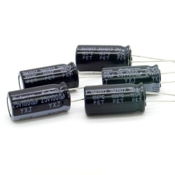 5x Condensateur 1000uF 25V 10x20mm - Rubycon - 234con520