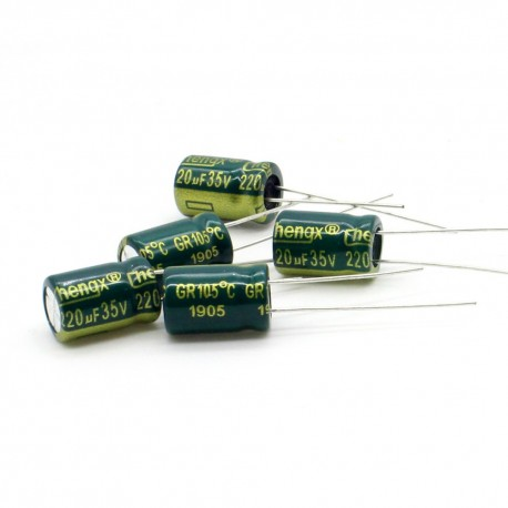 5x Condensateur 220uF 35V 8x12mm - Chengxing