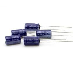 5x Condensateur 100uF 25V 6.3x11mm - pas: 2.5mm - Aihua - 235con530