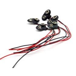 5x Support pile 9V - avec câble 15cm - a souder - 98pri005