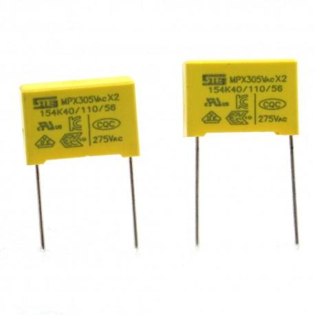 2x Condensateurs MPX X2 150nf - 154K P:15mm 275V