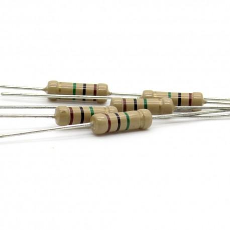 10x Résistance Carbone 1w - 220 ohm - 220ohm - 5% - Royal OHM - 166res335