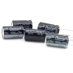 5x Condensateur chimique 1000uF 25V 10x17mm - Chengxing - 2con323