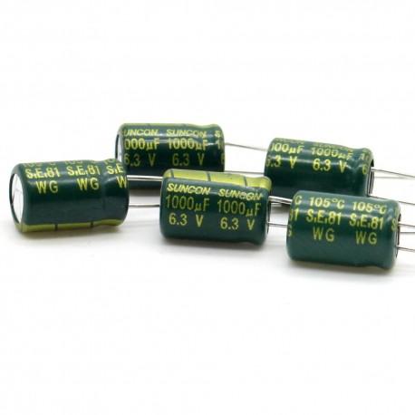 5x Condensateur chimique suncon 1000uf 6.3v low esr 8x12mm 2con326