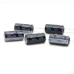5x Condensateur chimique radial 1000uF 25V 10x20mm - 2con002