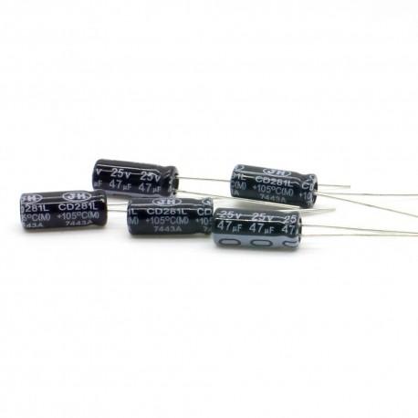 5x Condensateur chimique radial 47uF 25V 5x12mm - 62con140