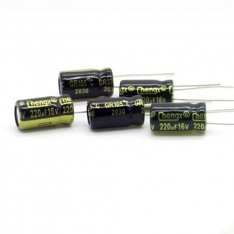 5x Condensateur electrolitique radial 220uF 16V 6x11mm - 159con384