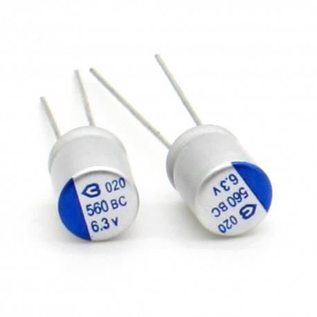 5x Condensateur electrolitique 560uf 6.3v 6x9mm - alu - 9con051