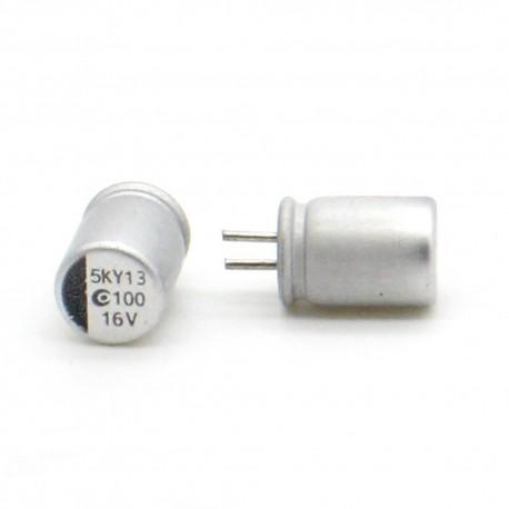 2x Condensateur 100uf 16v 6x10mm - alu - 9con047